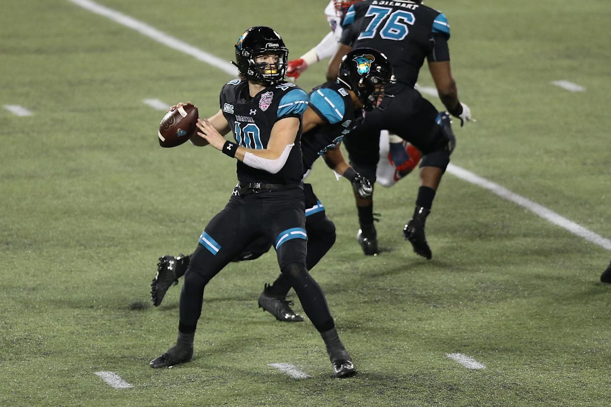 Coastal Carolina Chanticleers quarterback Grayson McCall (10) helped his team to a 52-14 win over The Citadel in its opener. (Photo by David Rosenblum/Icon Sportswire via Getty Images)