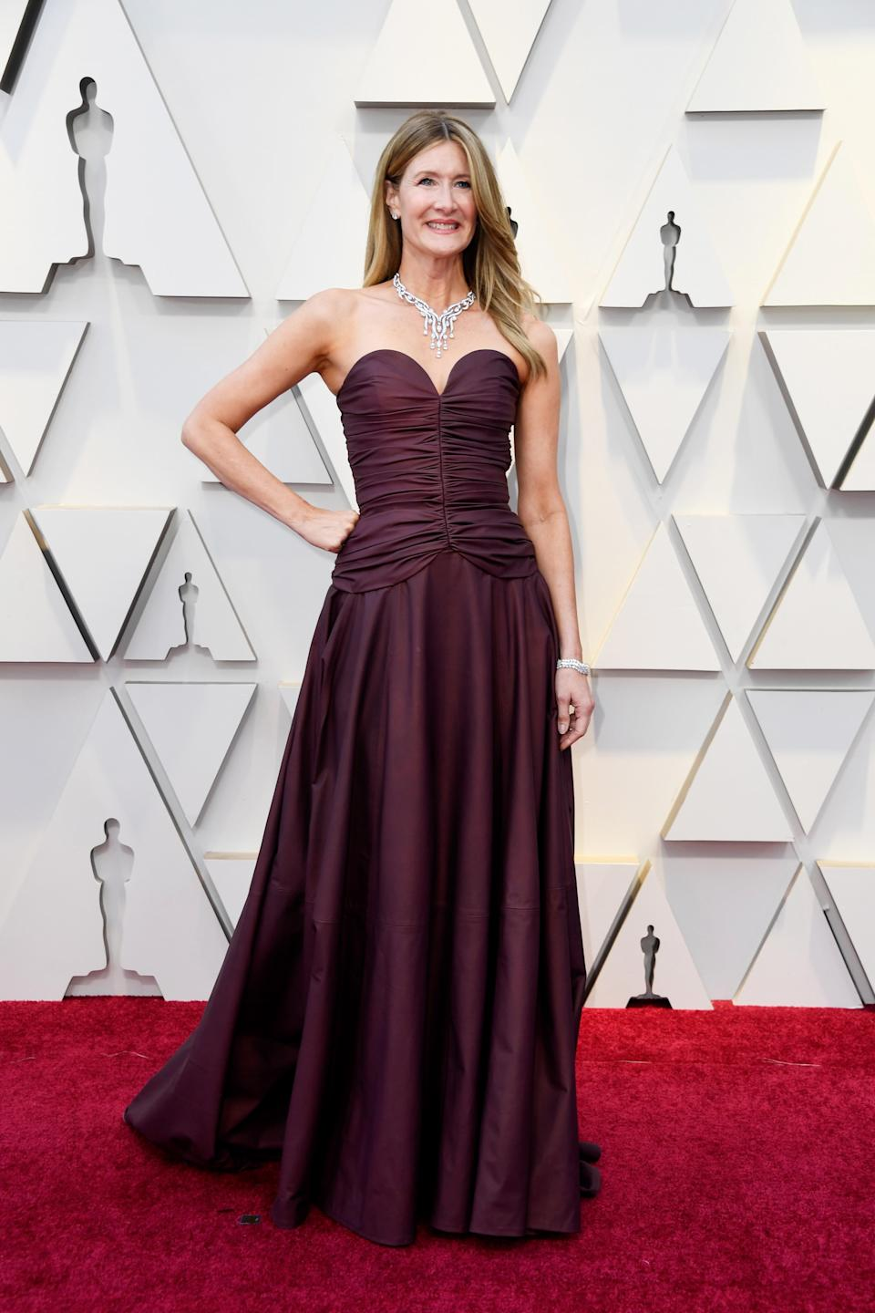 """<p>The """"Big Little Lies"""" actress opted for a burgundy, strapless gown. <em>[Photo: Getty]</em> </p>"""