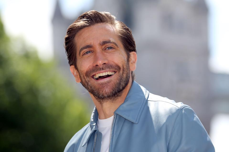 Actor Jake Gyllenhaal pose during a photocall for their latest film 'Spider-Man: Far From Home' at the Tower of London, backdropped by London's Tower Bridge, in London on June 17, 2019. (Photo by ISABEL INFANTES / AFP)        (Photo credit should read ISABEL INFANTES/AFP/Getty Images)