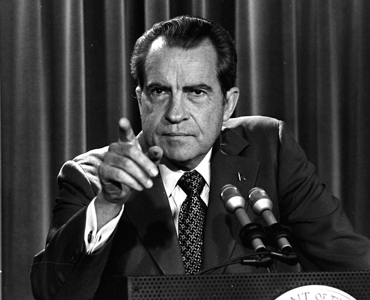 FILE - In this March 15, 1973, file photo President Nixon tells a White House news conference that he will not allow his legal counsel, John Dean, to testify on Capitol Hill in the Watergate investigation and challenged the Senate to test him in the Supreme Court. A feisty Nixon defended his shredded legacy and Watergate-era actions in grand jury testimony that he thought would never come out. On Thursday, Nov. 10, 2011, it did. (AP Photo/Charles Tasnadi, File)