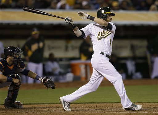 Oakland Athletics' Josh Reddick swings for an RBI single off Detroit Tigers' Max Scherzer in the sixth inning of a baseball game, Friday, April 12, 2013, in Oakland, Calif. (AP Photo/Ben Margot)