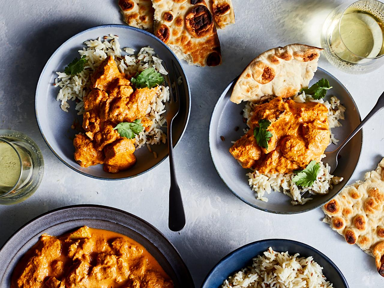 """<p>With a little sheet pan savvy, flavor-packed chicken tikka masala has never been more accessible. While we suggest marinating the chicken for at least four hours, if you didn't plan ahead, you can simply marinate the inherently tender chicken thighs for as long as you have time for. </p> <p><a href=""""https://www.myrecipes.com/recipe/sheet-pan-chicken-tikka-masala"""">Sheet-Pan Chicken Tikka Masala Recipe</a></p>"""