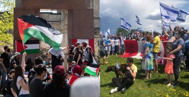At left, people rally in support of Palestinian rights at the Human Rights Monument in Ottawa on May 15, 2021. At right, a pro-Israel rally takes place near the Tom Brown Arena on May 16, 2021. (Alexander Behne/Radio-Canada, Krystalle Ramlakhan/CBC - image credit)