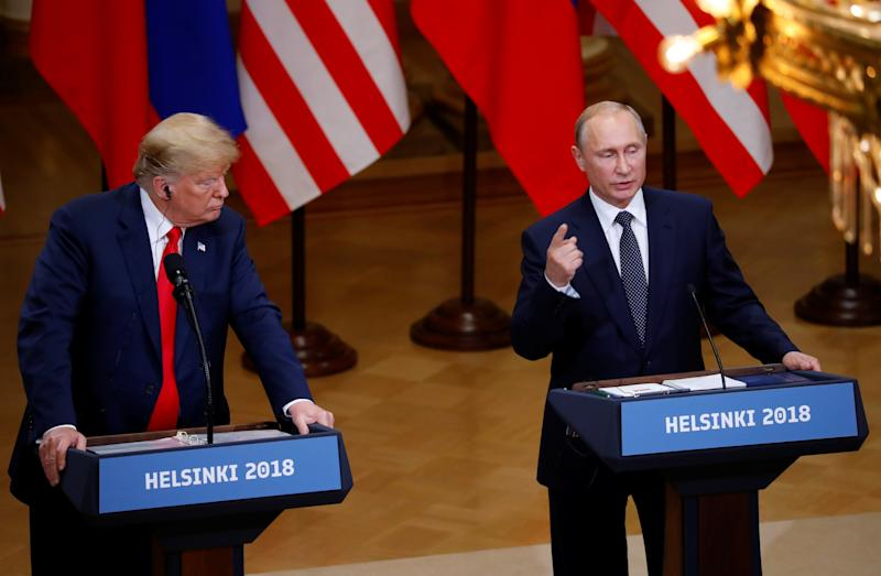 Trump caused a firestorm in Helsinki earlier this week after he rejected the assertion of U.S. intelligence agencies, who say Russia led a sophisticated campaign to influence the last presidential election. (Leonhard Foeger / Reuters)