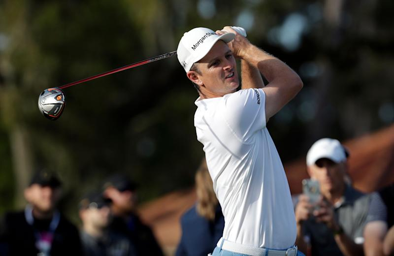 Justin Rose, of England, tees off on the 12th hole during the first round of The Players Championship golf tournament Thursday, March 14, 2019, in Ponte Vedra Beach, Fla. (AP Photo/Lynne Sladky)