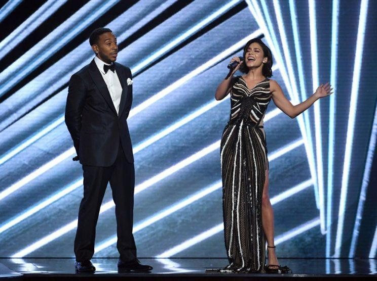 LAS VEGAS, NV – MAY 21: Co-host Ludacris (L) looks on as co-host Vanessa Hudgens sings during the 2017 Billboard Music Awards at T-Mobile Arena on May 21, 2017 in Las Vegas, Nevada. (Photo by Ethan Miller/Getty Images)
