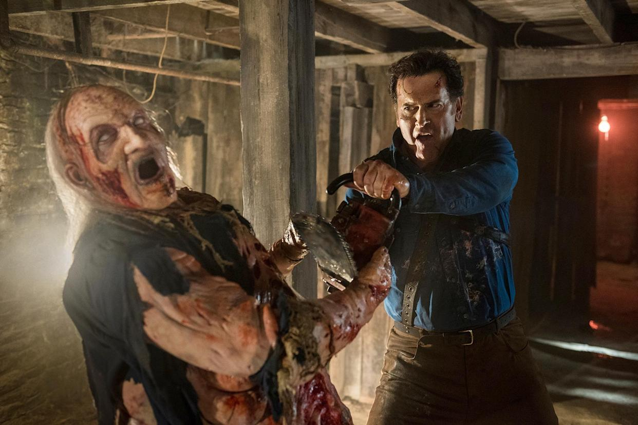 Campbell in the Starz series 'Ash vs Evil Dead,' which serves as his alter ego's swan song (Photo: Geoffrey Short/Starz/Courtesy Everett Collection)