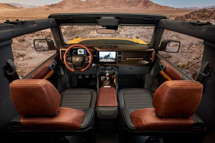 Interior of the 2021 Bronco, which features an open-air-design roof.