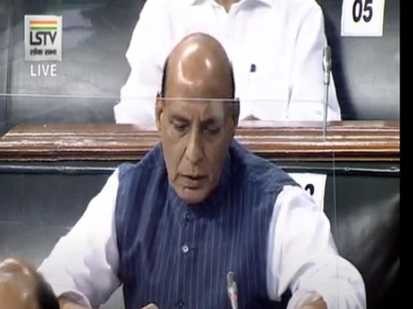 Defence Minister Rajnath Singh speaking in Lok Sabha on Tuesday. (Photo/ANI)