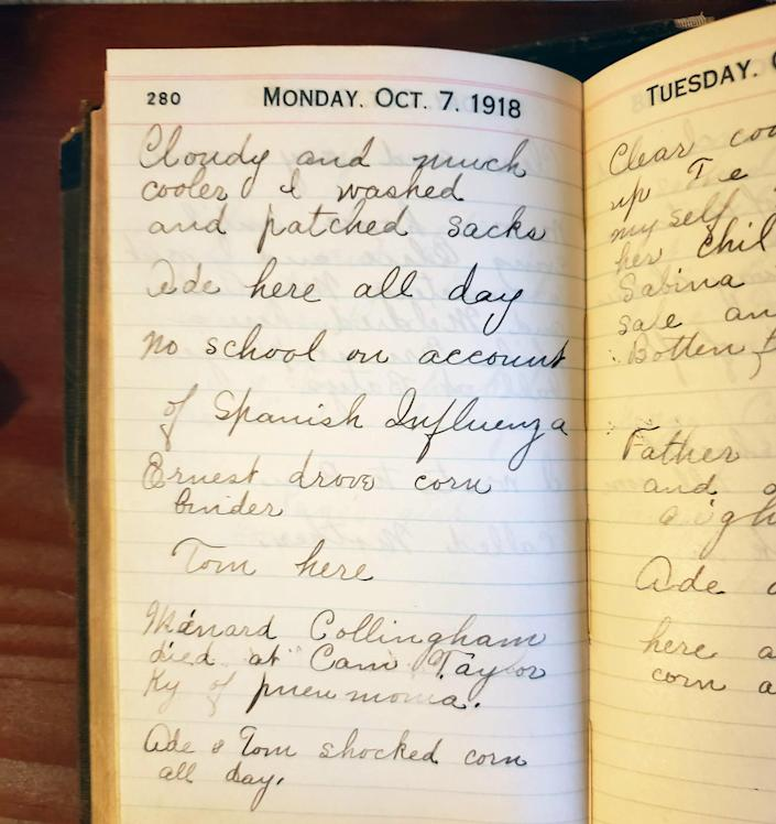 diary page from Oct. 7, 1918