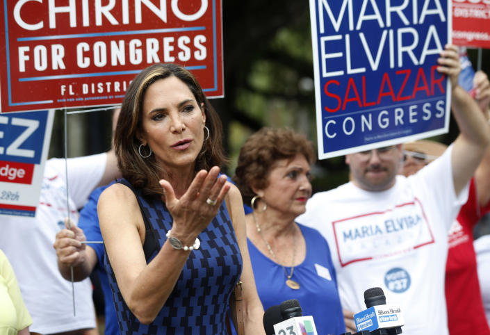 Maria Elvira Salazar speaks with members of the media outside a polling station in Coral Gables during the Florida primary election on Aug. 28, 2018. (Photo: Wilfredo Lee/AP)