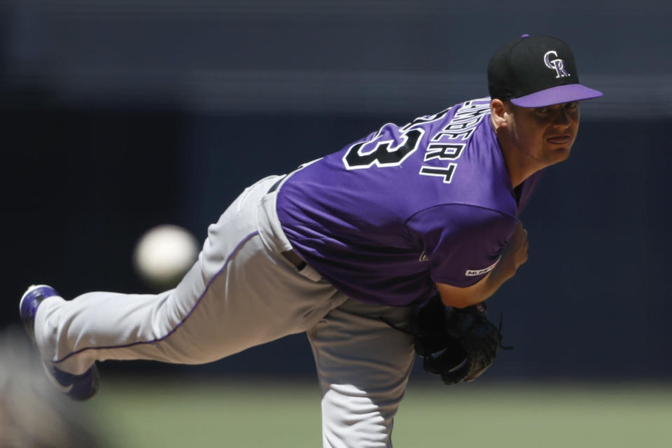 Colorado Rockies starting pitcher Peter Lambert works against a San Diego Padres batter during the first inning of a baseball game Sunday, Sept. 8, 2019, in San Diego. (AP Photo/Gregory Bull)