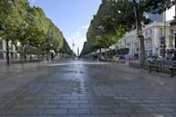 Tunis' Habib Bourguiba Avenue, a symbol of the Tunisian revolution where people normally gather on the anniversary to revive hopes for a better future, is deserted on January 14, 2021