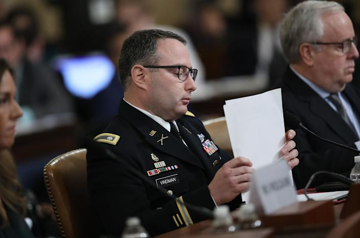 Lt. Col. Alexander Vindman, National Security Council director for European Affairs, testifies before the House Intelligence Committee Nov. 19, 2019 in Washington, D.C. (Photo: Drew Angerer via Getty Images)