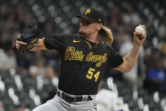 Pittsburgh Pirates relief pitcher Sam Howard throws during the sixth inning of a baseball game against the Milwaukee Brewers Friday, June 11, 2021, in Milwaukee. (AP Photo/Morry Gash)