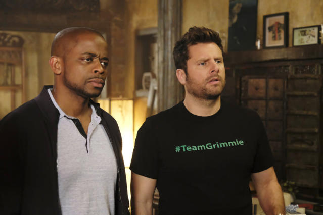 Dulé Hill as Gus Guster, James Roday as Shawn Spencer in <em>Psych: The Movie</em>. (Photo: Alan Zenuk/USA Network)