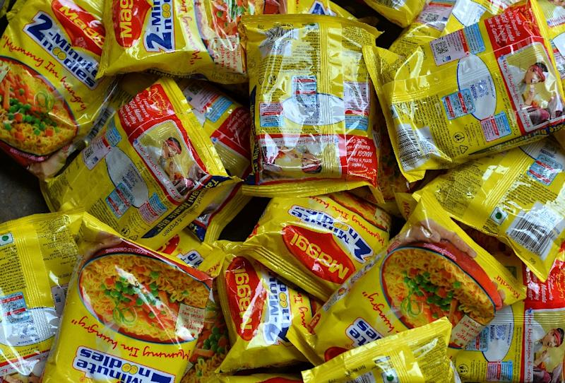 Nestle 'Maggi' instant noodles in a shop in the Indian capital New Delhi on June 3, 2015 (AFP Photo/Chandan Khanna)