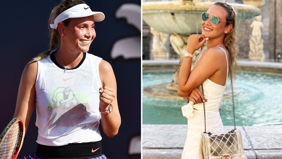 Donna Vekic, pictured here on and off the court in Palermo.