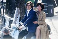 <p>Adam Driver and Lady Gaga are seen riding a Vespa while filming <i>House of Gucci</i> in Lake Como, Italy on Thursday. </p>