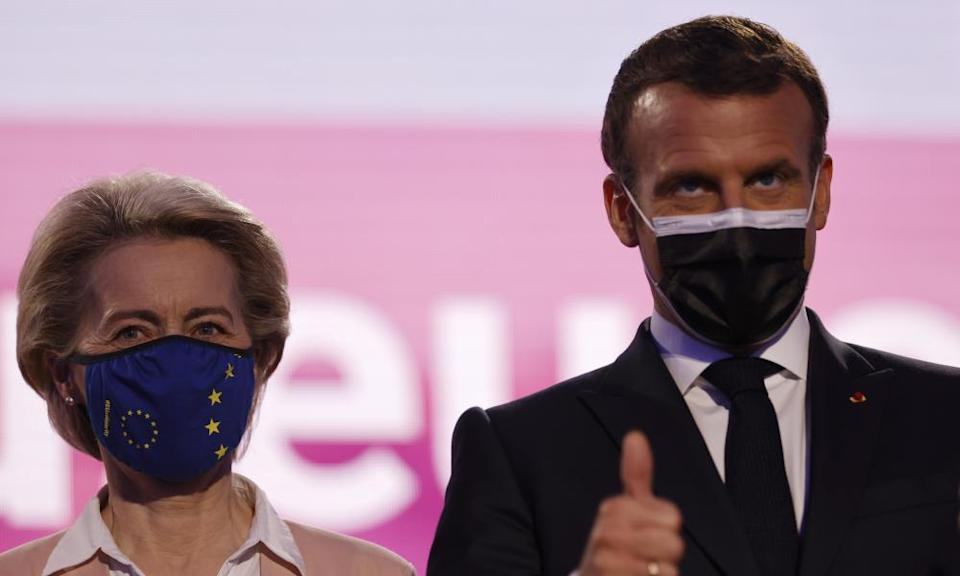 The European commission president, Ursula von der Leyen, with Macron at the Future of Europe conference