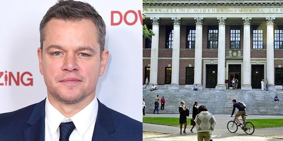 <p><strong>Harvard University </strong></p><p>Although Damon dropped out of Harvard in 1992, his time there wasn't a total waste. The actor drew inspiration from his time at the Cambridge university for his Oscar-winning screenplay, <em>Good Will Hunting</em>. The school later granted the famous actor an honorary degree.</p>