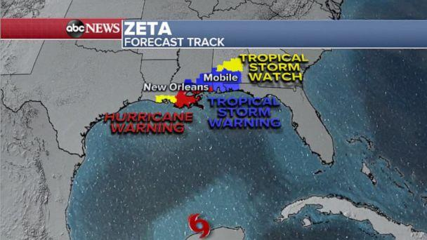 PHOTO: Zeta is expected to continue to strengthen over the next 24 hours leading up to landfall tomorrow evening. On the current forecast track, landfall looks like a Cat 1 will hit south of New Orleans, Oct. 28, 2020. (ABC News)