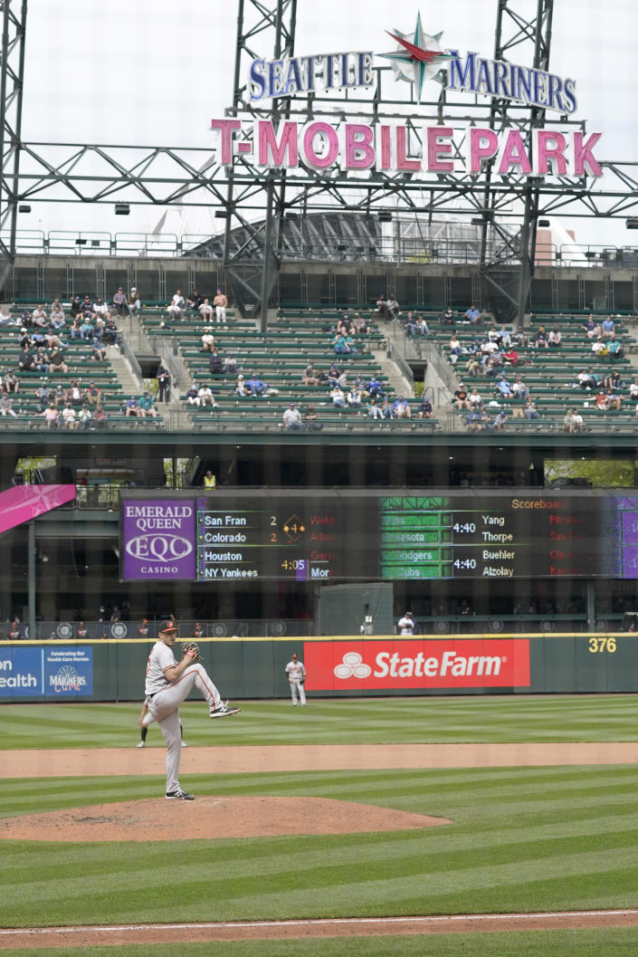 Baltimore Orioles starting pitcher John Means throws against the Seattle Mariners during the eighth inning of a baseball game, Wednesday, May 5, 2021, in Seattle. (AP Photo/Ted S. Warren)