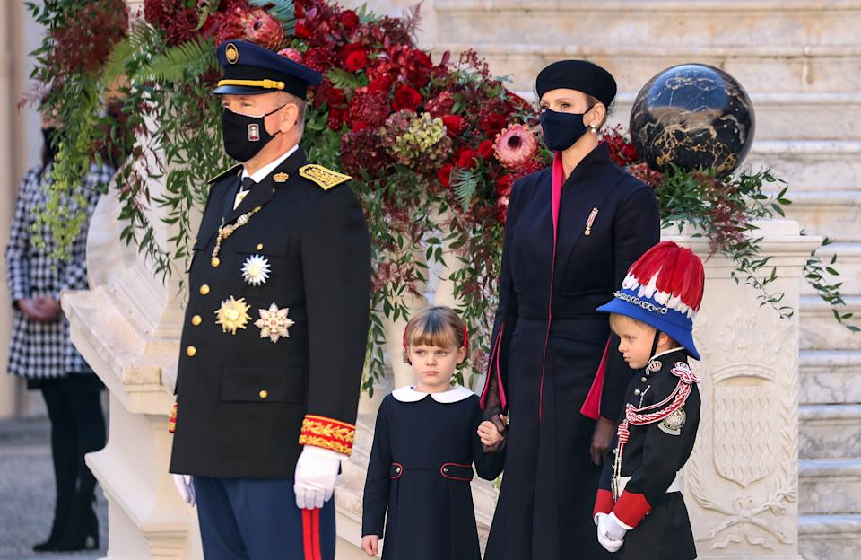 (L-R) Prince Albert II, Princess Gabriella, Princess Charlene and Prince Jacques of Monaco attend the celebrations marking Monaco's National Day at the Palace in Monaco, November 19, 2020. Valery Hache/Pool via REUTERS