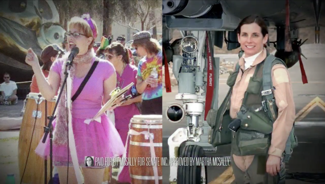 Senate candidates Kyrsten Sinema, a Democrat, and Martha McSally, a Republican, as the two are depicted in a McSally campaign ad.