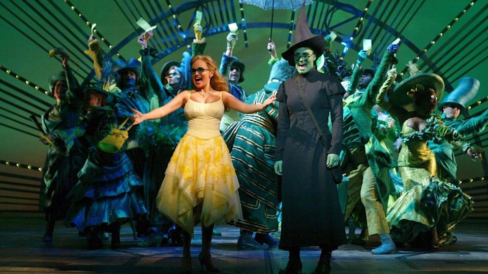 Editorial use onlyMandatory Credit: Photo by ITV/Shutterstock (781504kj)'Broadway: The American Musical' - Episode 6 - Kristin Chenoweth as Glinda, Idina Menzel as Elphaba and company in 'Wicked' - 1997 -GTV.