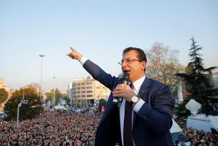 Newly elected Mayor of Istanbul Ekrem Imamoglu of the main opposition Republican People's Party (CHP) addresses his supporters after taking the office in Istanbul, Turkey, April 17, 2019. REUTERS/Huseyin Aldemir