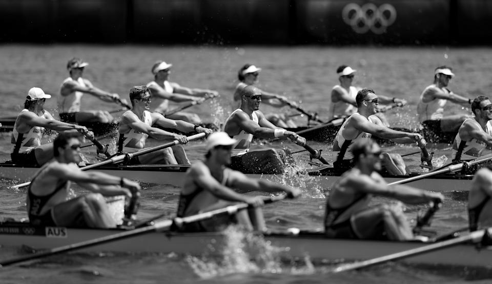 <p>TOKYO, JAPAN - JULY 28: (EDITORS NOTE - This image has been converted to black and white) Tom George, Mohamed Sbihi, Charles Elwes and Oliver Wynne-Griffith of Team Great Britain compete against Teams New Zealand and Australia during the Men's Eight Repechage 1 on day five of the Tokyo 2020 Olympic Games at Sea Forest Waterway on July 28, 2021 in Tokyo, Japan. (Photo by Naomi Baker/Getty Images)</p>