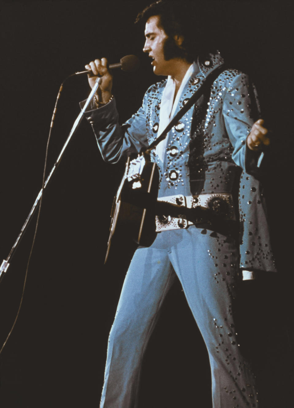 Elvis Presley's outfits took a page from the comic book Captain Marvel Jr. (Photo; Getty Images).
