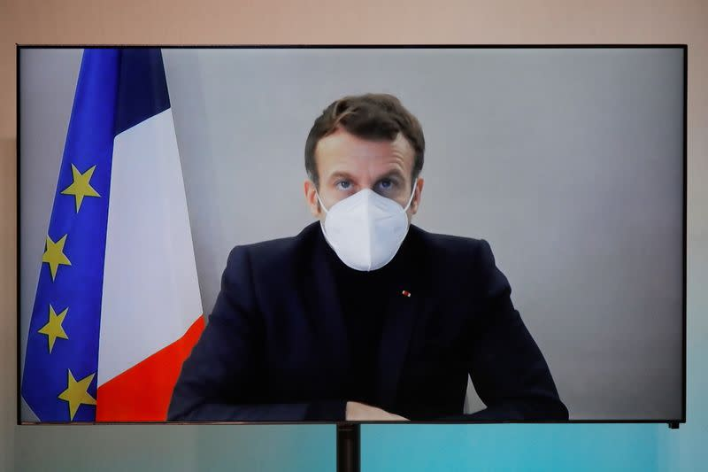 French President Macron, tested positive for coronavirus, talks by video conference in Paris