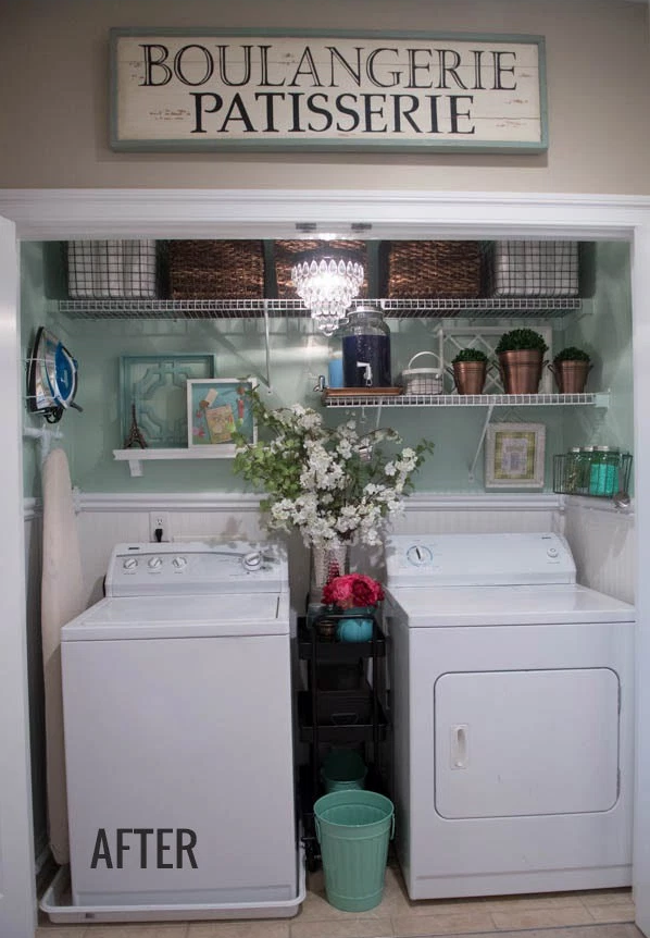 """<p>But a fresh coat of light green paint tuns the working station into a pretty space, while boxes sit on the shelves, allowing for more items to fit inside.</p><p><em><a href=""""http://celebratingeverydaylife.com/before-after-my-laundry-room-makeover/"""" rel=""""nofollow noopener"""" target=""""_blank"""" data-ylk=""""slk:See more at Celebrating Everyday Life »"""" class=""""link rapid-noclick-resp"""">See more at Celebrating Everyday Life »</a></em></p><p><strong>What you'll need: </strong><span class=""""redactor-invisible-space"""">floating shelves, $18, <a href=""""https://www.amazon.com/ClosetMaid-1041-12in-Shelf-White/dp/B0000DH4LI/?tag=syn-yahoo-20&ascsubtag=%5Bartid%7C2139.g.36060899%5Bsrc%7Cyahoo-us"""" rel=""""nofollow noopener"""" target=""""_blank"""" data-ylk=""""slk:amazon.com"""" class=""""link rapid-noclick-resp"""">amazon.com</a></span><br></p>"""