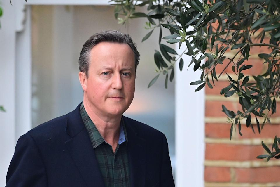 LONDON, ENGLAND - MAY 13: Former Prime Minister David Cameron leaves his home to give evidence to a select committee on Greensill, on 13 May, 2021 in London, England. (Getty Images)