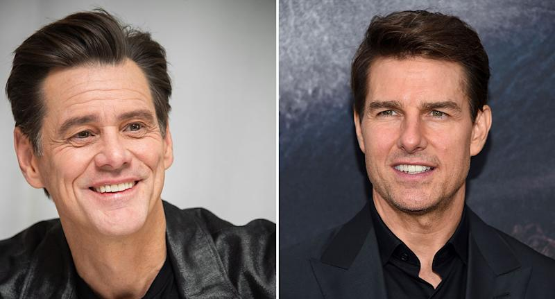 Composite image of Jim Carrey (L), 2020 and Tom Cruise (R), 2017. (Vera Anderson/WireImage-Evan Agostini/Invision/AP)