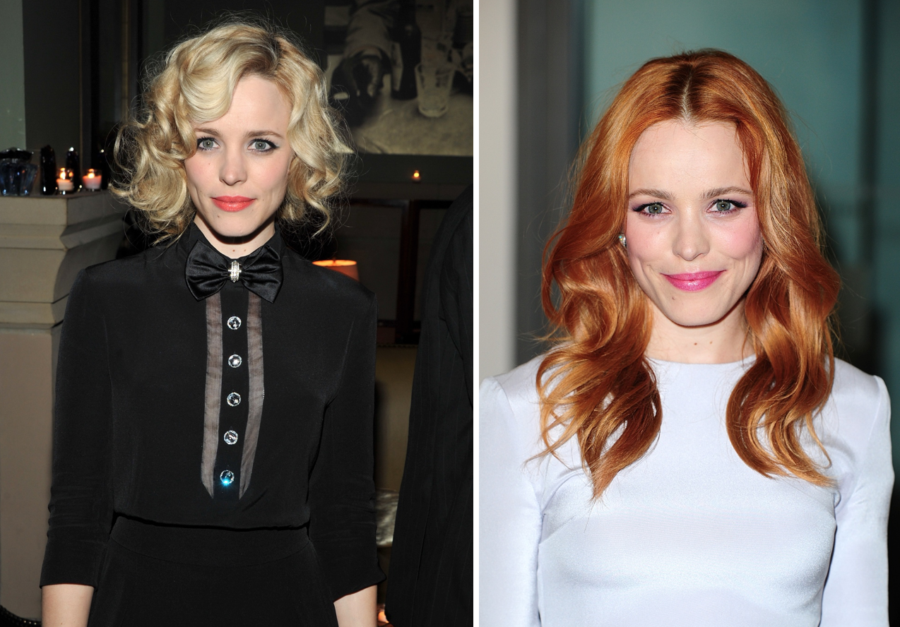 <p>Rachel swapped her Marilyn Monroe curls for a gorgeous auburn hue after her break-up with Michael Sheen in 2013.<br /><i>[Photo: Getty/PA]</i> </p>