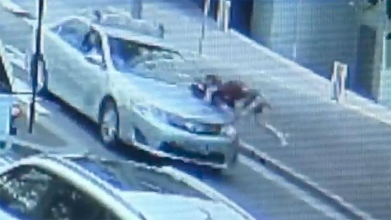 Young Jake was sent flying when he ran across a pedestrian crossing. Source: 7 News