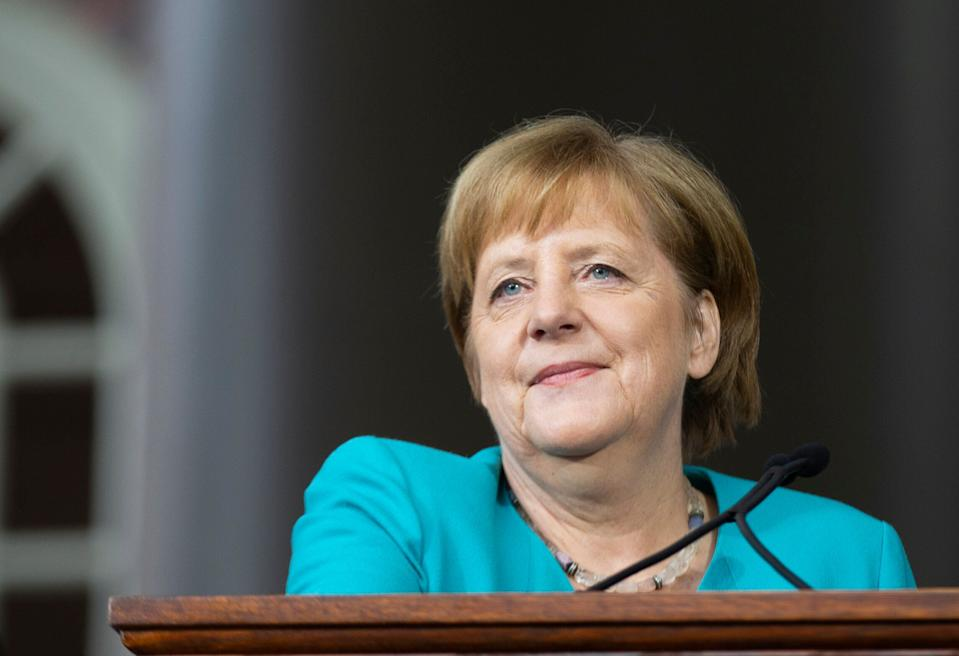 German Chancellor Angela Merkel delivers the keynote speech at Harvard's 368th commencement ceremony at Harvard University in Cambridge, Massachusetts, on May 30, 2019. (Photo by Allison Dinner / AFP)        (Photo credit should read ALLISON DINNER/AFP/Getty Images)