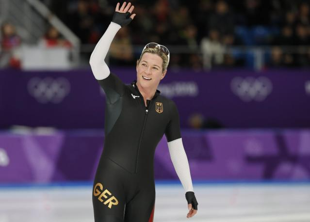 Speed Skating – Pyeongchang 2018 Winter Olympics – Women's 3000m competition finals – Gangneung Oval - Gangneung, South Korea – February 10, 2018 - Claudia Pechstein of Germany gestures. REUTERS/Jorge Silva