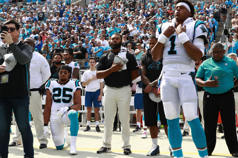 Carolina's Eric Reid continues to protest against social injustice during the playing of the national anthem at NFL games. (AP)