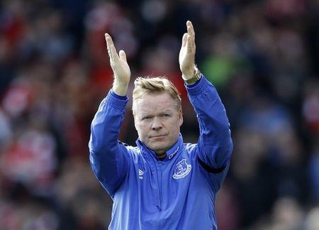 Everton manager Ronald Koeman looks dejected after the match