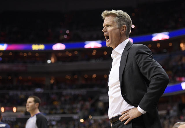 "<a class=""link rapid-noclick-resp"" href=""/nba/teams/gsw/"" data-ylk=""slk:Golden State Warriors"">Golden State Warriors</a> coach Steve Kerr yells during the first half of the teame's NBA basketball game against the <a class=""link rapid-noclick-resp"" href=""/nba/teams/was/"" data-ylk=""slk:Washington Wizards"">Washington Wizards</a>, Wednesday, Feb. 28, 2018, in Washington. (AP Photo/Nick Wass)"