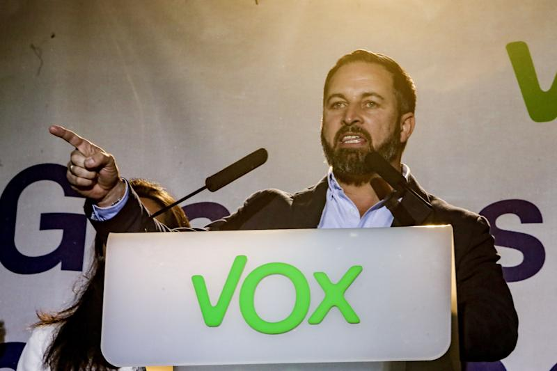 Santiago Abascal gives a speech at VOX headquarters on April 28, 2019 in Madrid. (Photo: Europa Press News via Getty Images)
