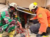 Members of a search and rescue agency team work after an earthquake, in Mamuju