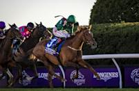 Tarnawa, ridden by Colin Keane, wins the Breeders' Cup Turf at Keeneland in Lexington, Kentucky