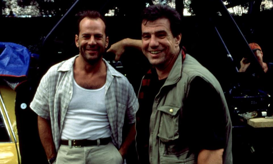 John McTiernan with Bruce Willis on the set of Die Hard With A Vengeance (Credit: Rex Features)