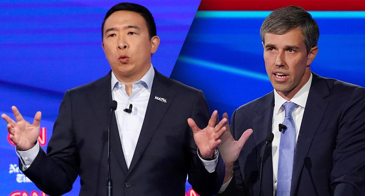 Andrew Yang and Beto O'Rourke during the fourth U.S. Democratic presidential candidates 2020 election debate at Otterbein University in Westerville, Ohio U.S., October 15, 2019. (Photos: John Minchillo/AP, Shannon Stapleton/Reuters)