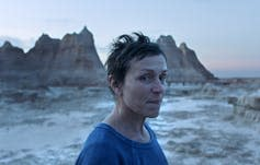 Frances McDormand in a scene from the film Nomadland.